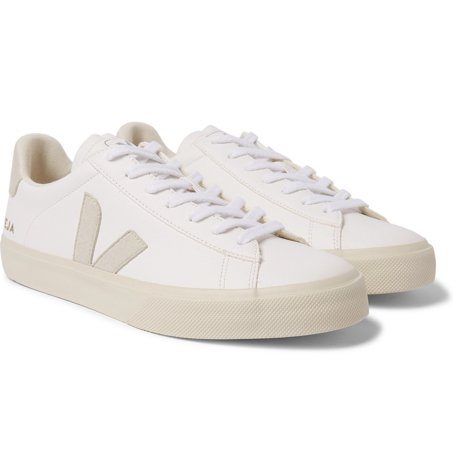 Photo: Veja - Campo Suede-Trimmed Leather Sneakers - White