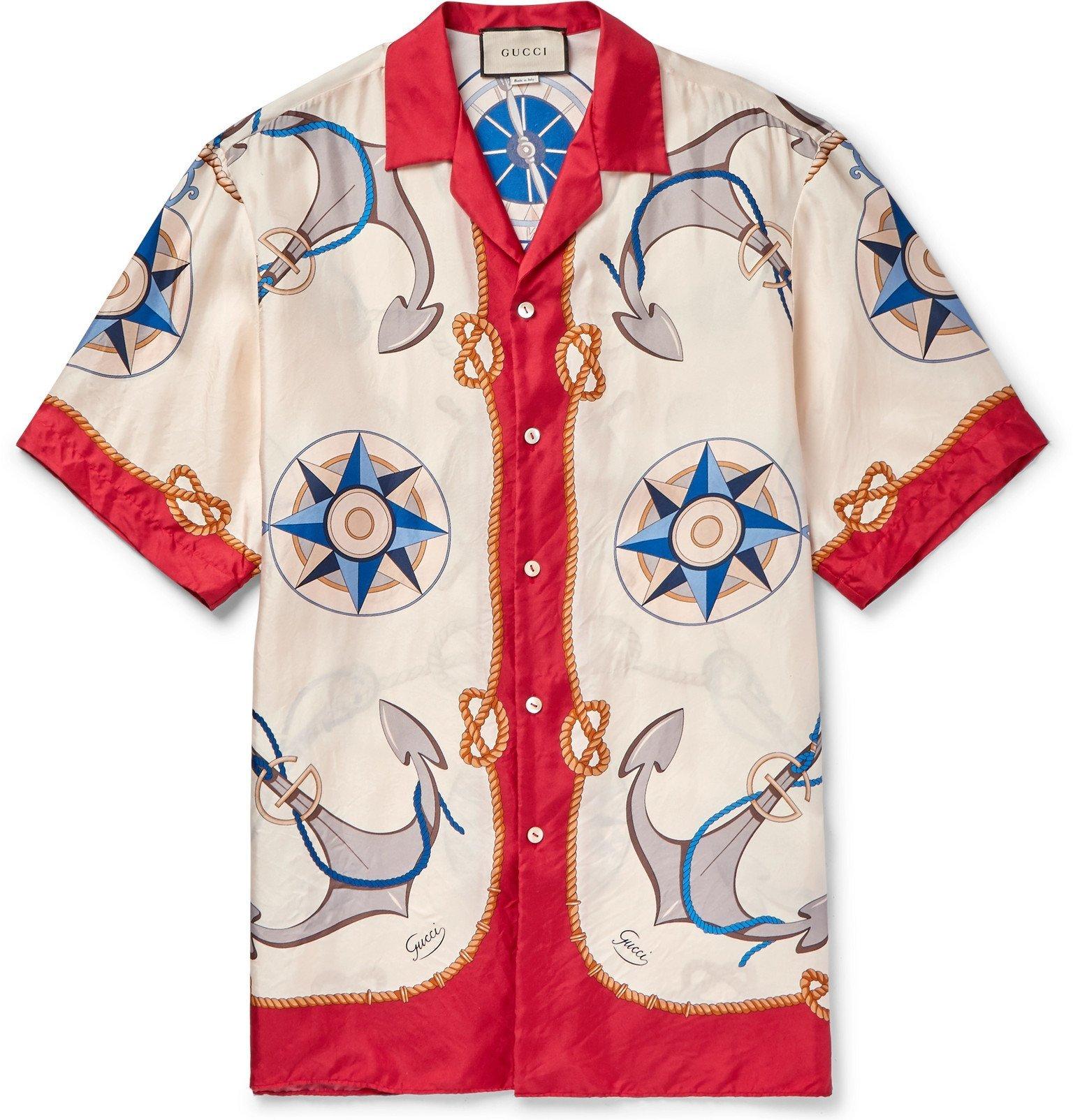 Photo: Gucci - Camp-Collar Printed Silk-Twill Shirt - Red