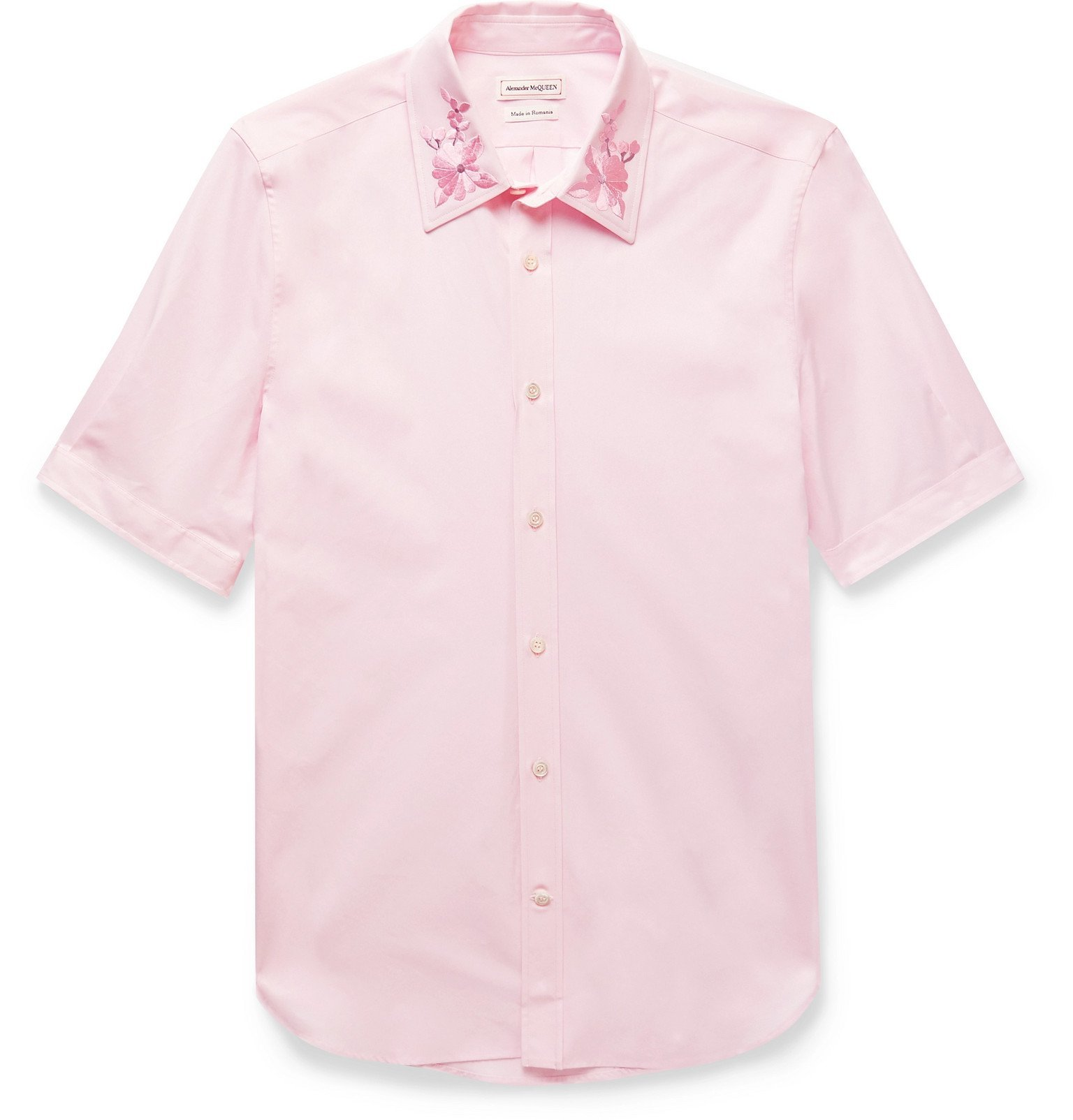 Photo: Alexander McQueen - Embroidered Cotton-Poplin Shirt - Pink