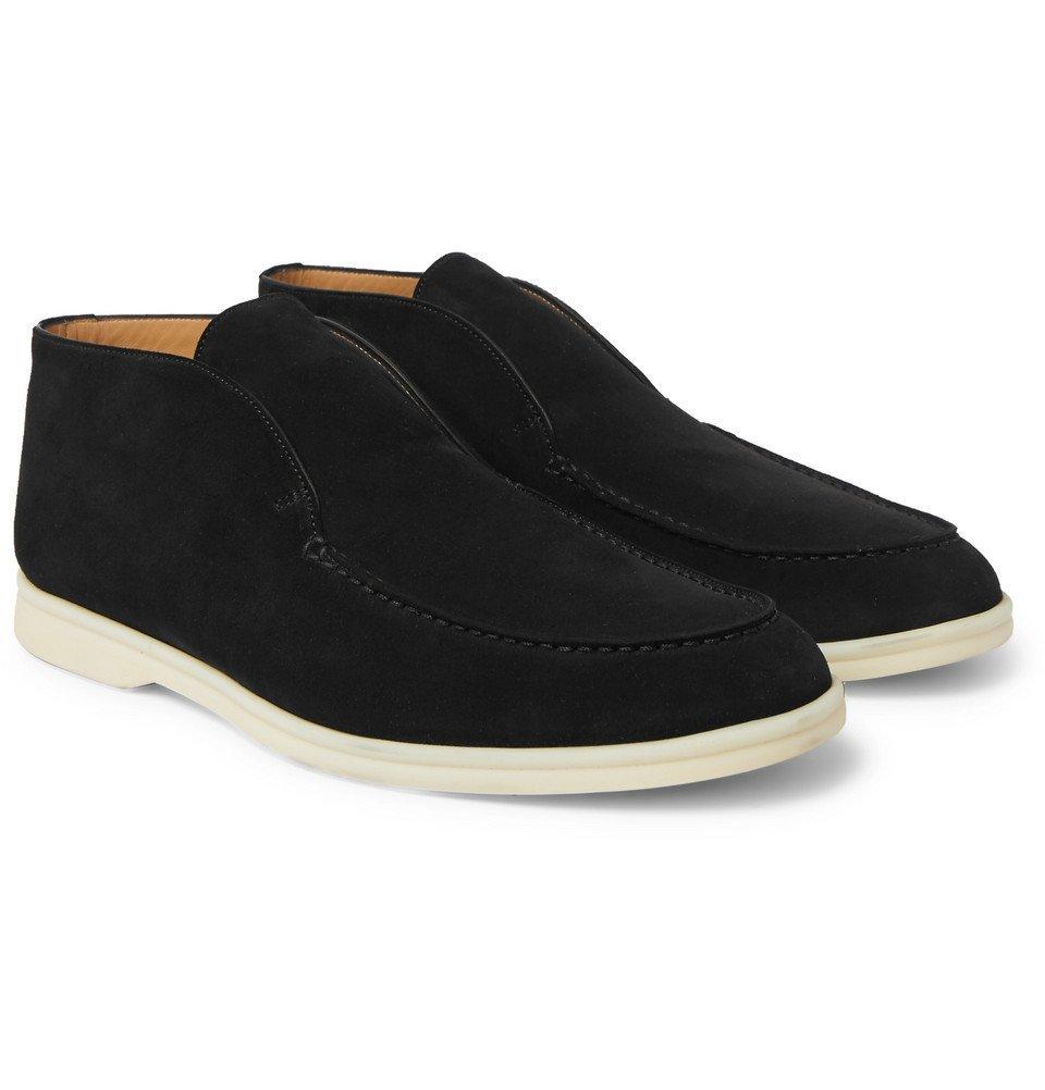 Photo: Loro Piana - Open Walk Suede Boots - Black
