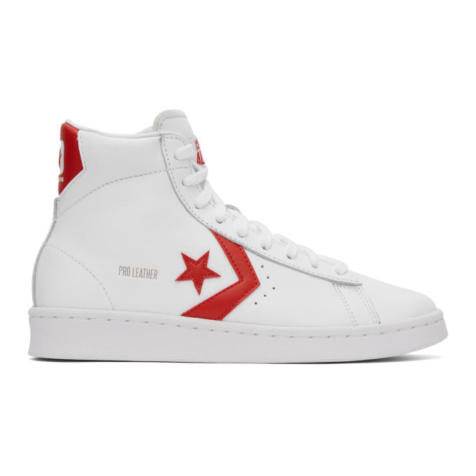 Photo: Converse White and Red Leather Pro Mid Sneakers