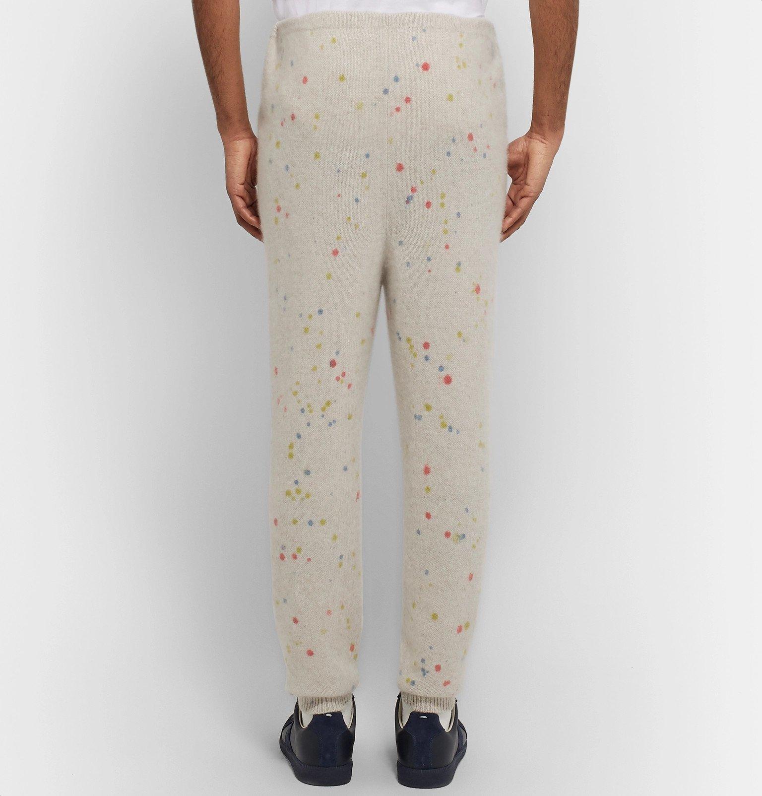 The Elder Statesman - Slim-Fit Tapered Paint-Splattered Cashmere Sweatpants - Neutrals