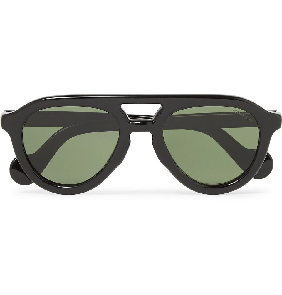 Moncler - Aviator-Style Acetate Polarised Sunglasses - Black