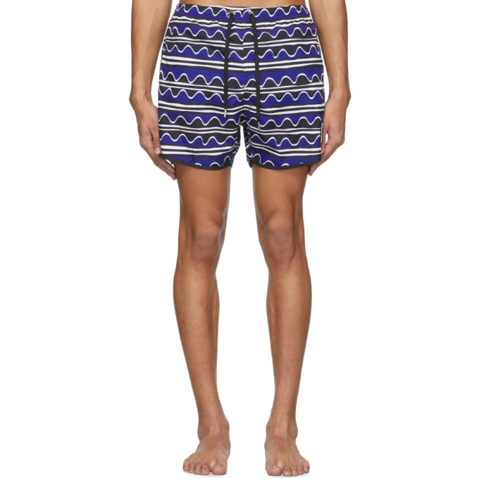 Photo: Neil Barrett Blue Primitive Art Stripes Swim Shorts