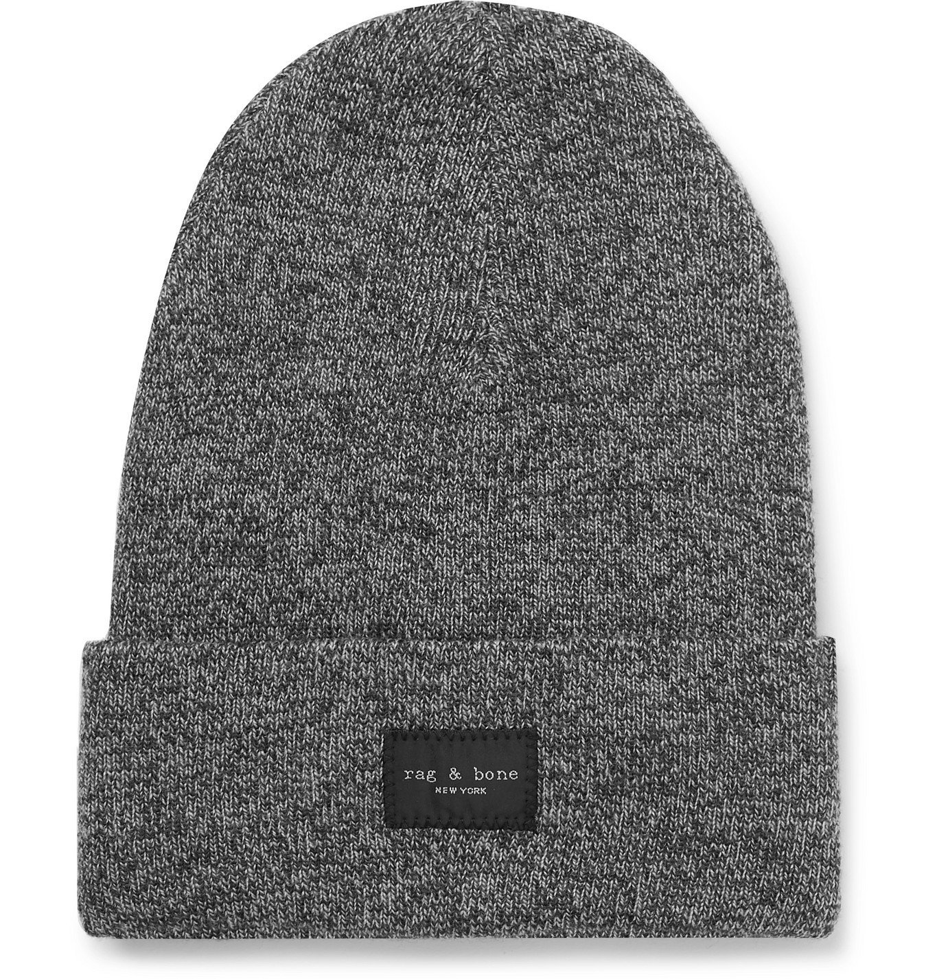Photo: rag & bone - Addison Logo-Appliquéd Mélange Wool-Blend Beanie - Gray