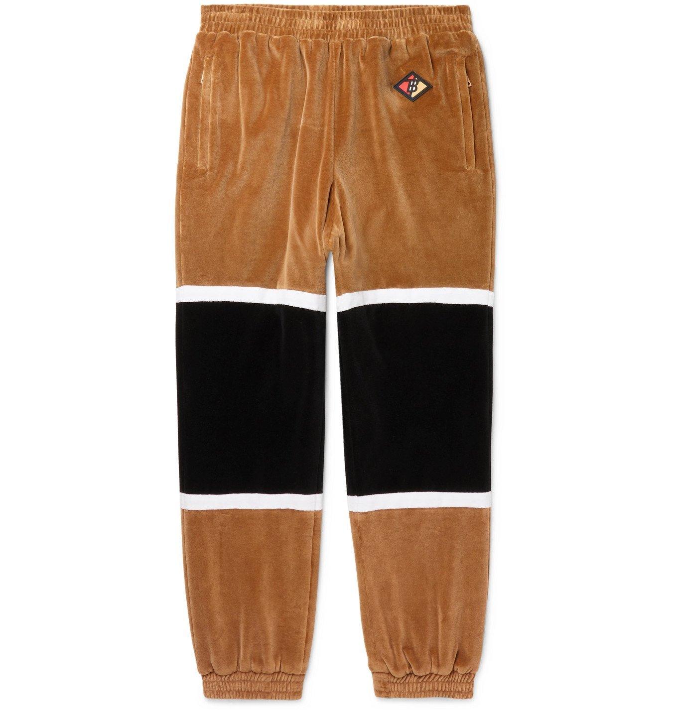 Photo: Burberry - Colour-Block Cotton-Blend Velour Track Pants - Brown