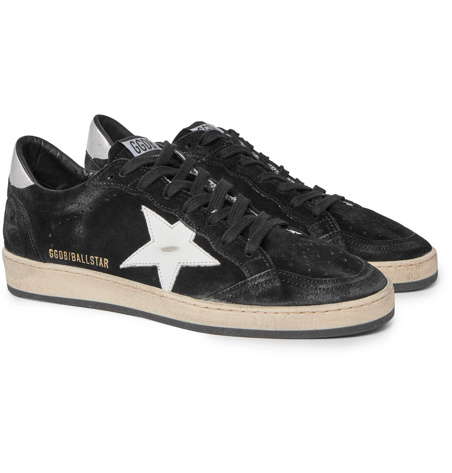 Photo: Golden Goose - Ball Star Distressed Suede and Leather Sneakers - Black