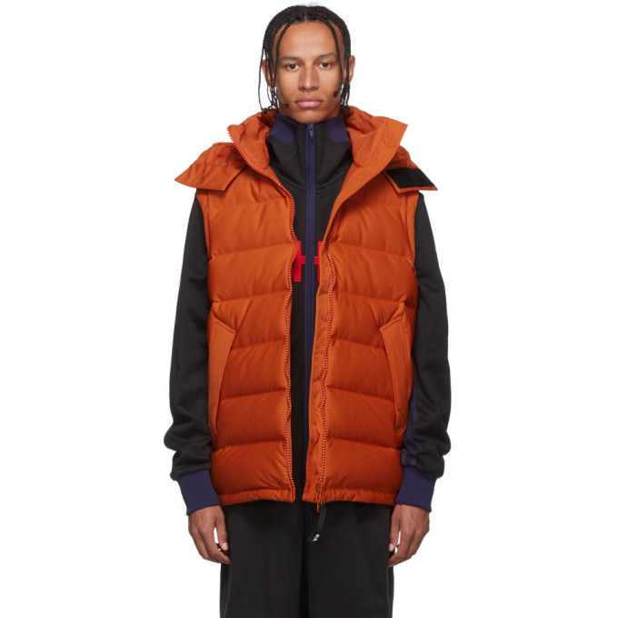 Y-3 Orange Down Seamless Hooded Vest