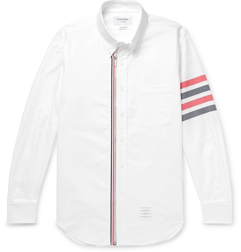 Photo: Thom Browne - Button-Down Collar Striped Cotton Oxford Shirt - White