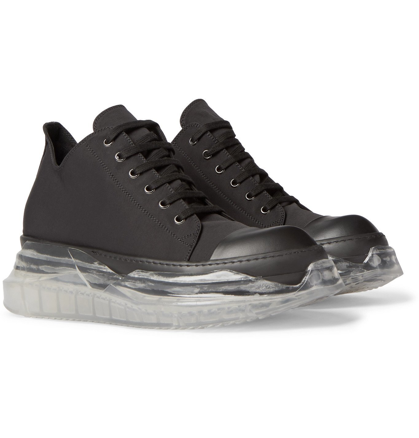 Photo: Rick Owens - Leather-Trimmed Canvas Sneakers - Black