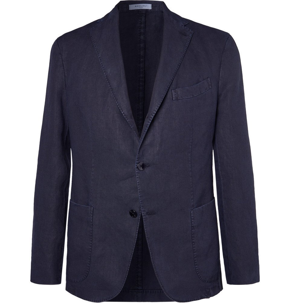 Photo: Boglioli - Navy K-Jacket Slim-Fit Unstructured Linen Suit Jacket - Navy