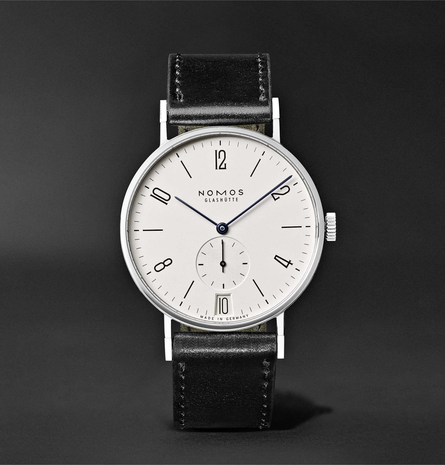 Photo: NOMOS Glashütte - Tangente 38mm Datum Stainless Steel and Leather Watch, Ref. No. 130 - White