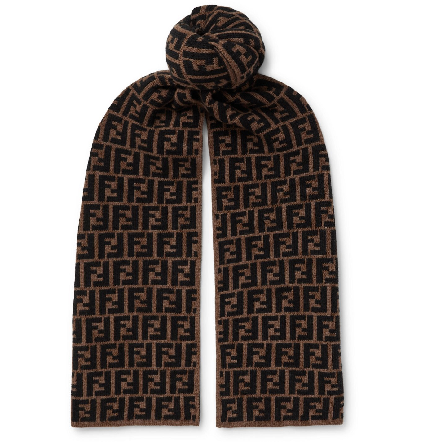 Photo: Fendi - Logo-Jacquard Wool Scarf - Brown