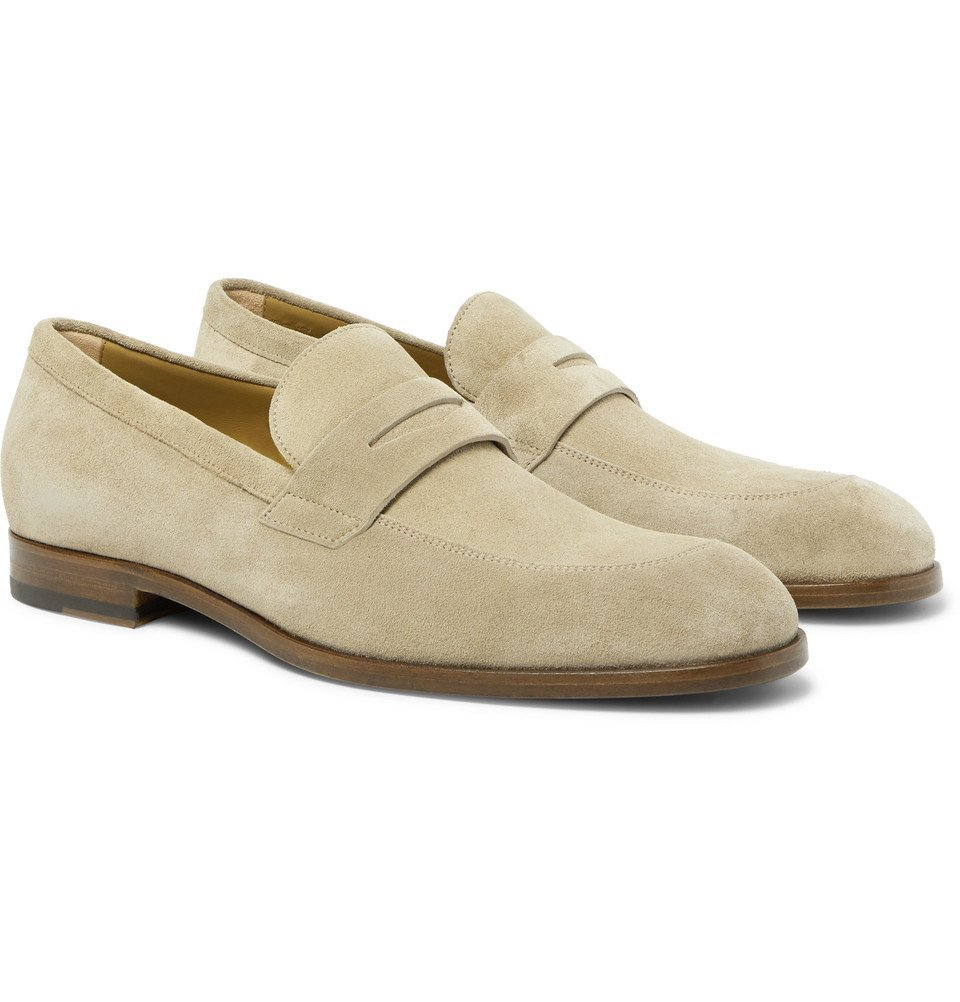 Photo: Hugo Boss - Brighton Suede Penny Loafers - Sand