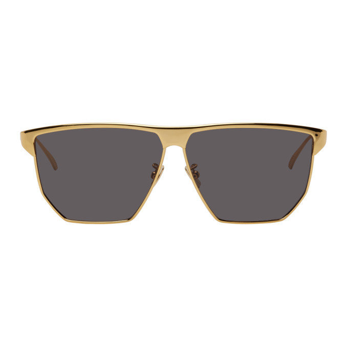 Photo: Bottega Veneta Gold Square Sunglasses