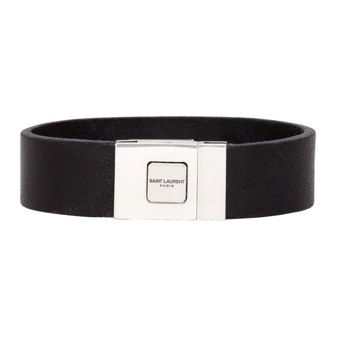 Photo: Saint Laurent Black Leather Logo Bracelet