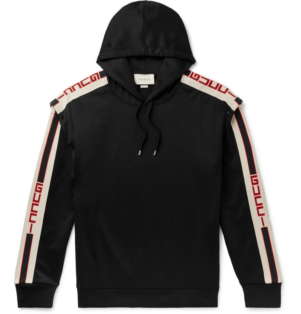 Photo: Gucci - Webbing-Trimmed Tech-Jersey Hoodie - Black