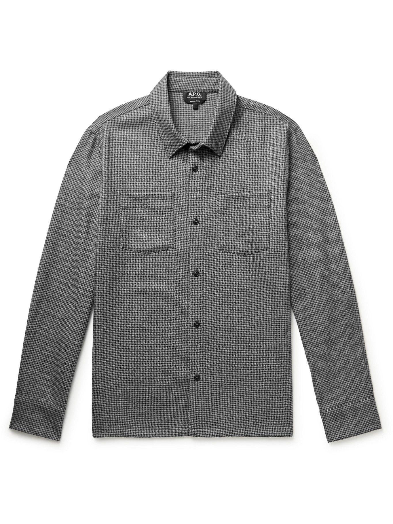A.P.C. - Pepper Puppytooth Wool Overshirt - Black