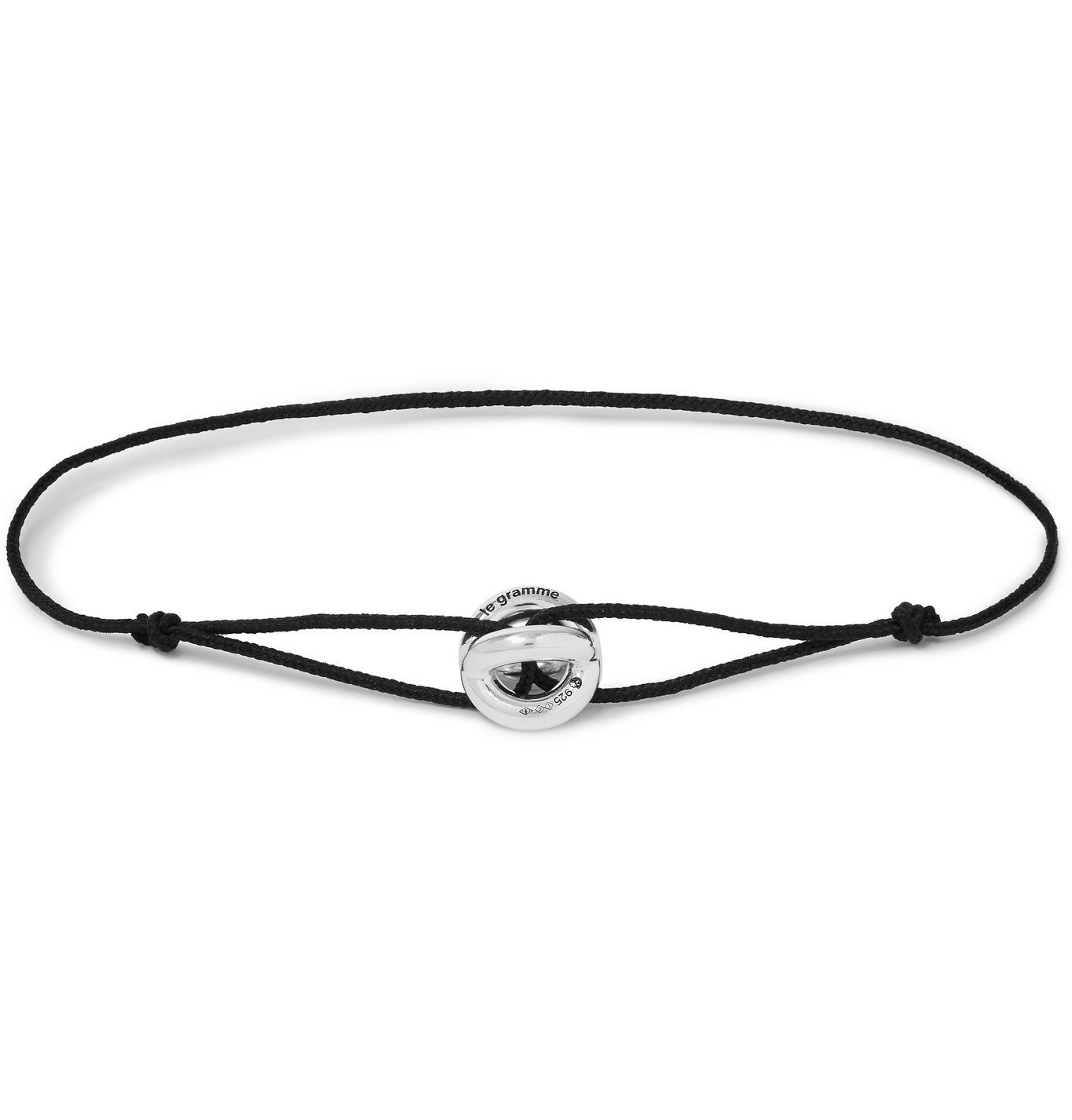 Photo: Le Gramme - Sterling Silver and Cord Bracelet - Black