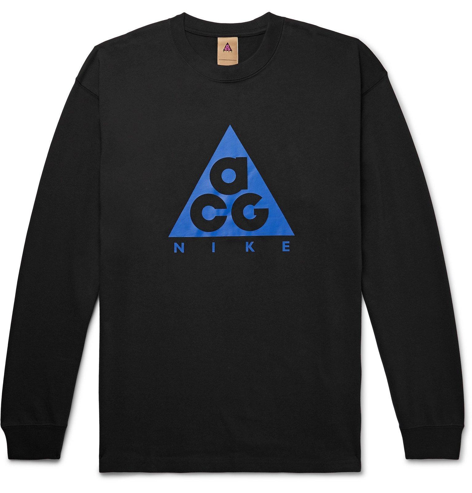 Photo: Nike - ACG Oversized Logo-Print Cotton-Jersey T-Shirt - Black