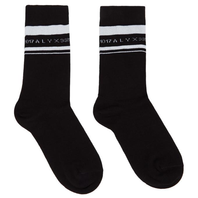 Photo: 1017 ALYX 9SM Black and White Horizontal Stripe Socks