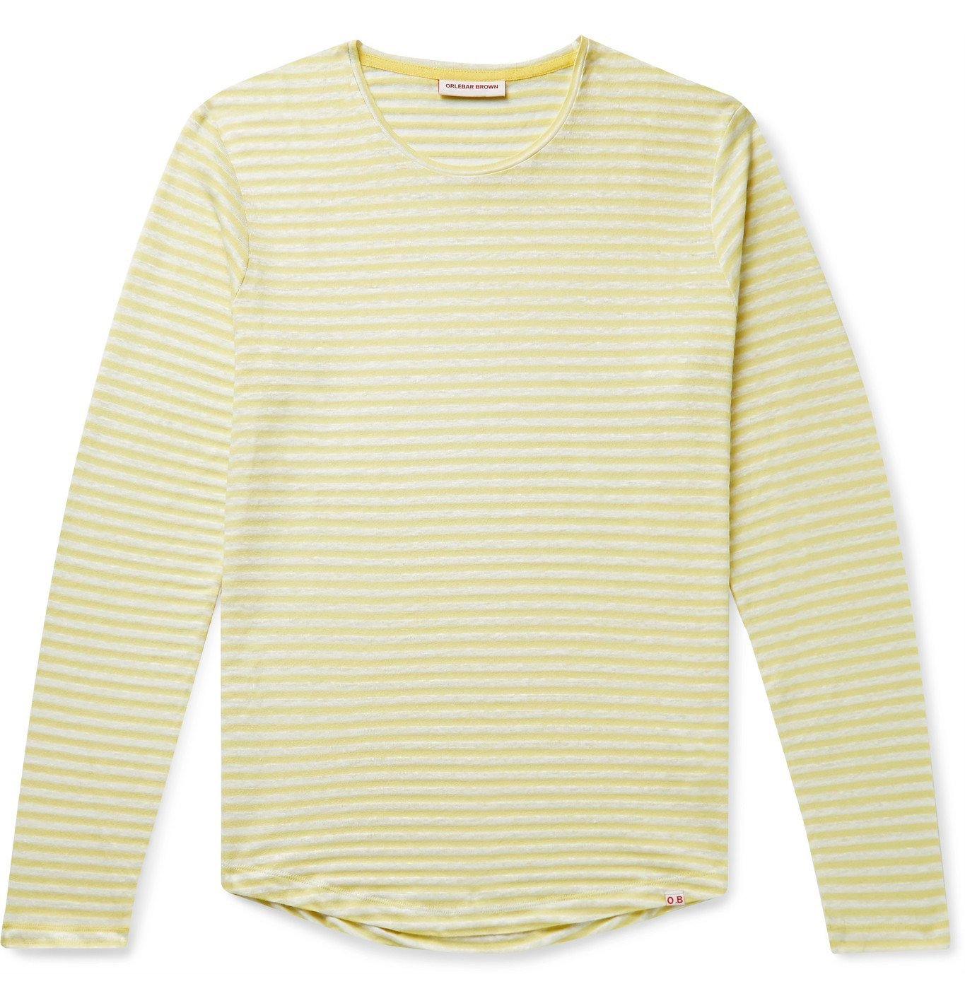 Photo: Orlebar Brown - OB-T Striped Cotton and Linen-Blend T-Shirt - Yellow
