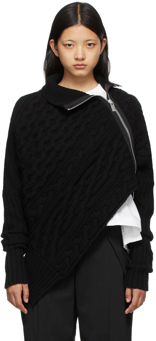 Sacai Black Asymmetric Zippered Turtleneck