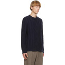 Giorgio Armani Navy Cashmere Jacquard Sweater