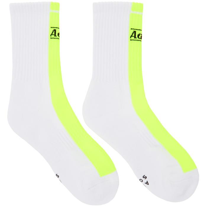 Photo: ADER error White and Yellow Half and Half Logo Socks