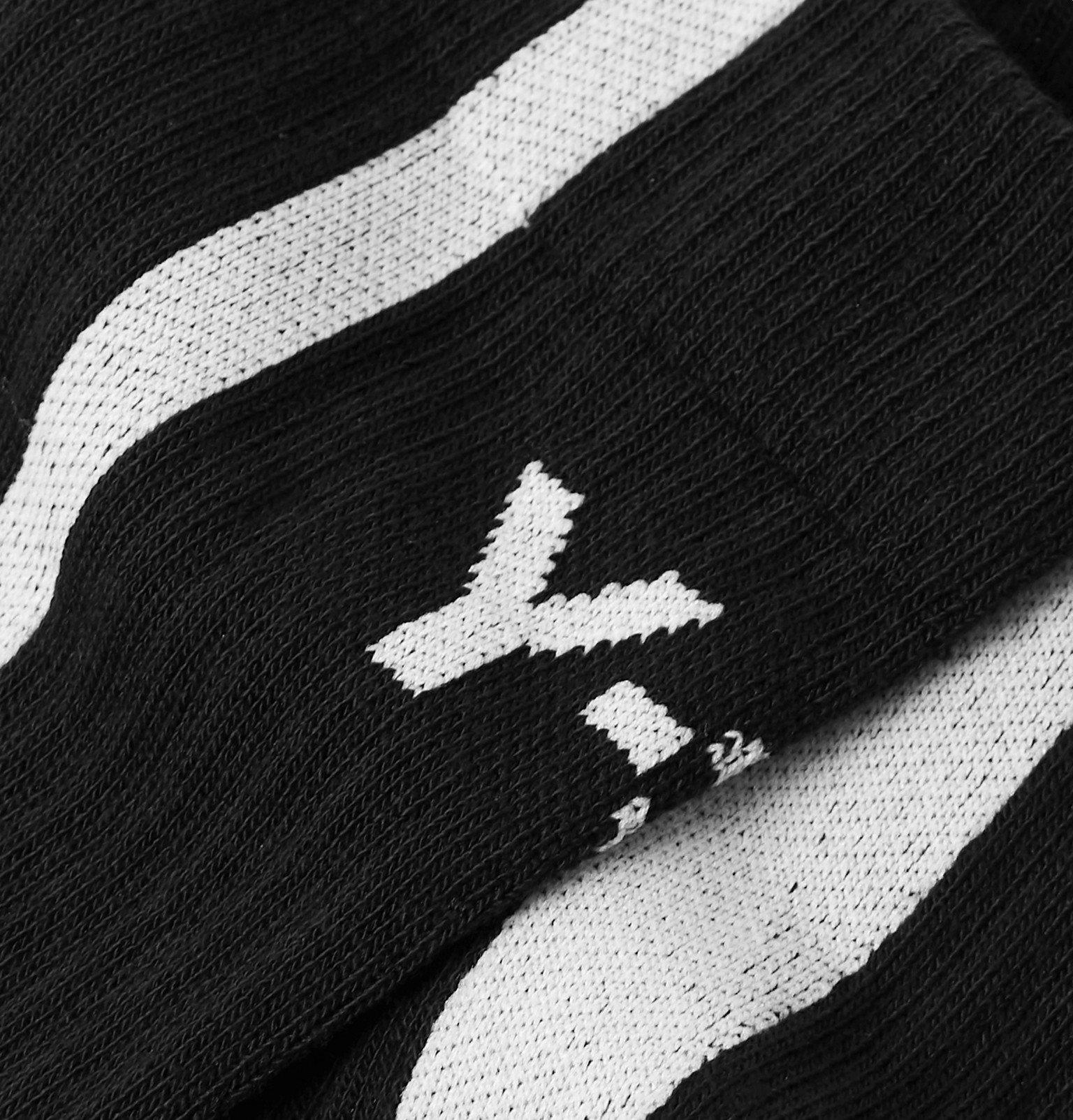 Y-3 - Logo-Jacquard Striped Cotton-Blend Socks - Black