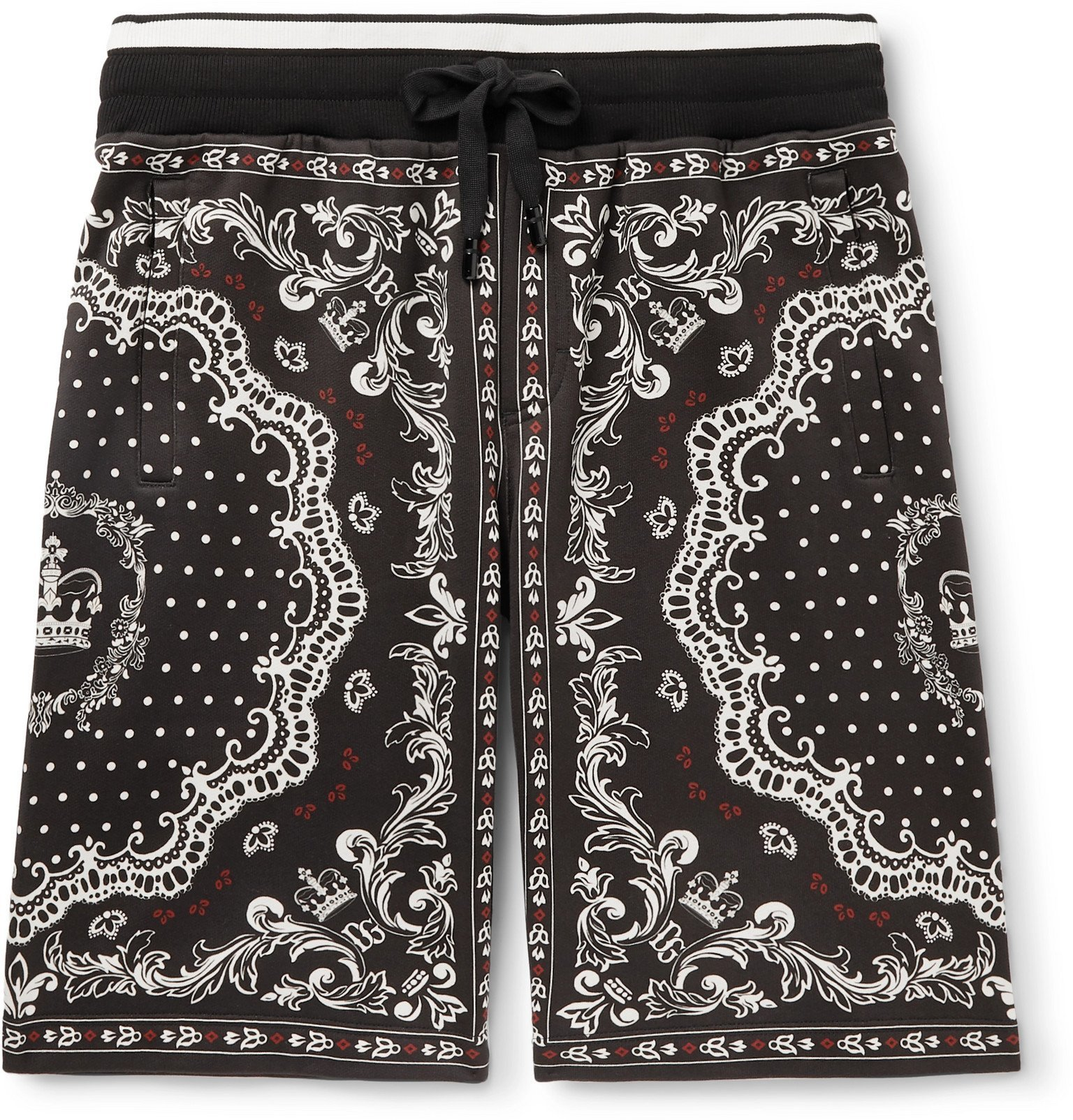 Photo: Dolce & Gabbana - Bandana-Print Cotton-Jersey Drawstring Shorts - Black