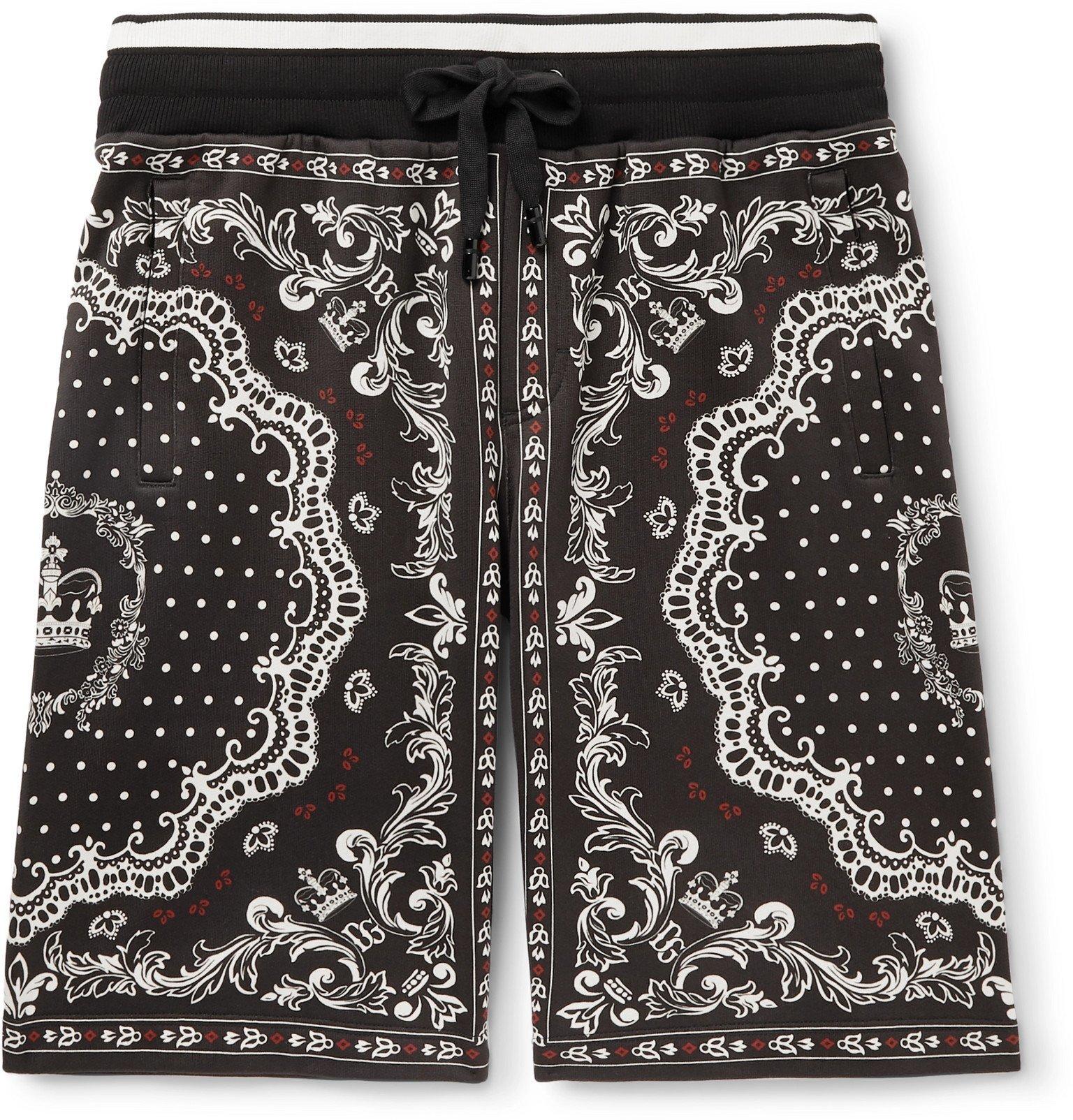 Photo: Dolce & Gabbana - Bandana-Print Cotton-Jersey Drawstring Shorts - Black