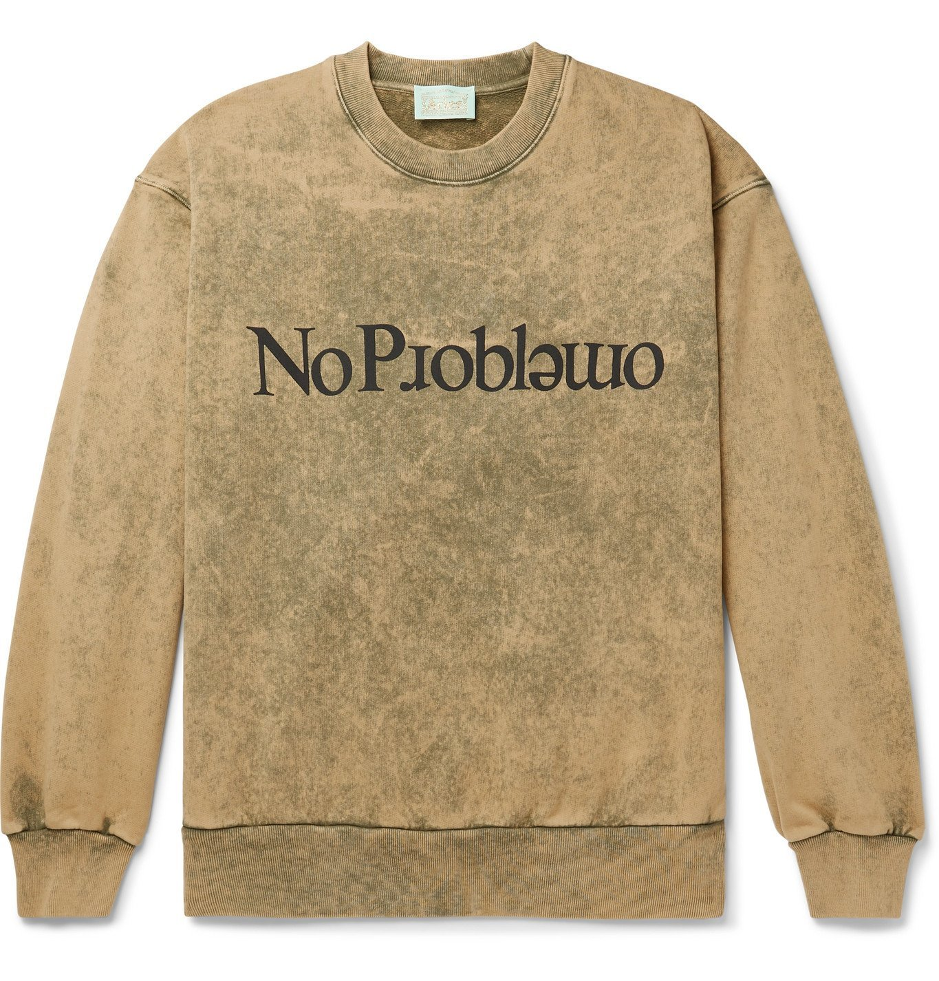 Photo: Aries - No Problemo Acid-Washed Loopback Cotton-Jersey Sweatshirt - Green
