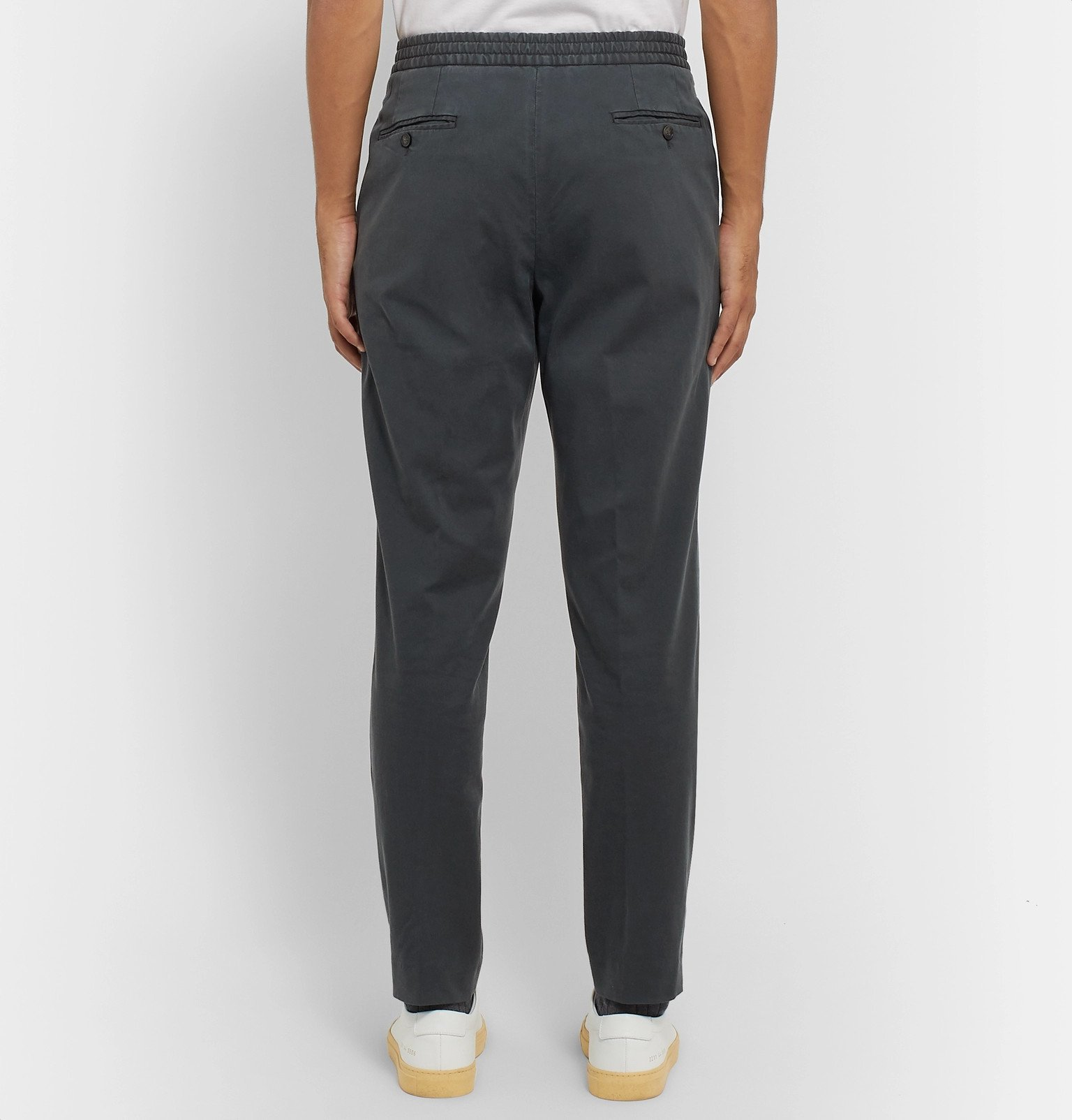 Officine Generale - Drew Tapered Pleated Garment-Dyed Lyocell and Cotton-Blend Drawstring Trousers - Gray