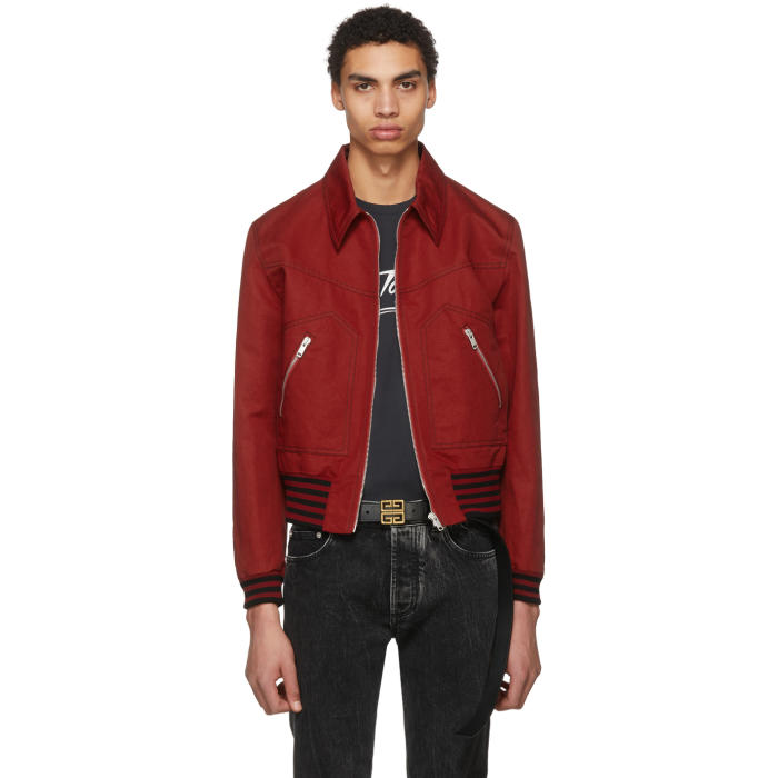 Photo: Givenchy Red Gabardine Bomber Jacket