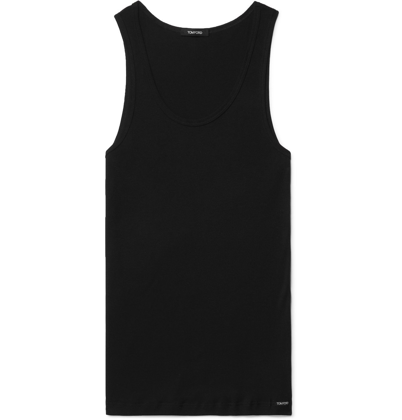Photo: TOM FORD - Ribbed Cotton and Modal-Blend Jersey Tank Top - Black