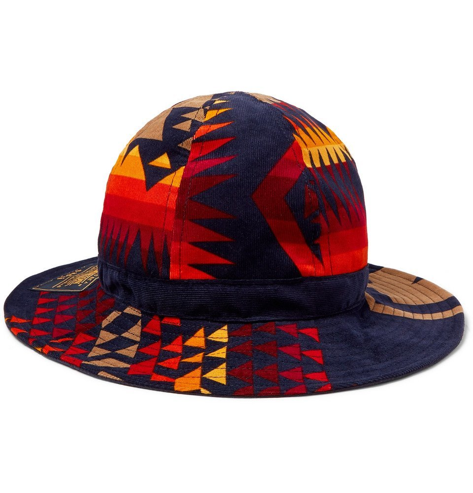 Photo: Sacai - Pendleton Printed Cotton-Corduroy Bucket Hat - Navy