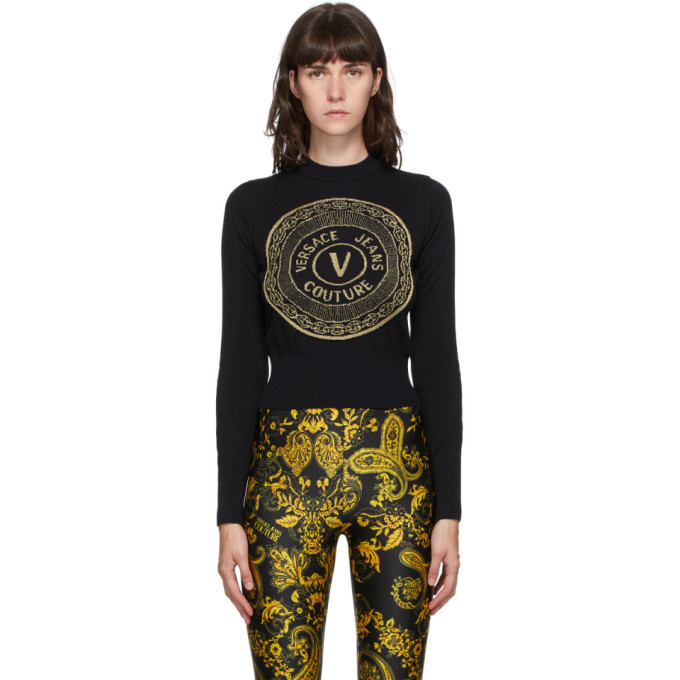 Photo: Versace Jeans Couture Black and Gold New Buttons Sweater