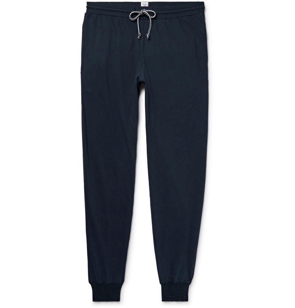 Schiesser - Nick Slim-Fit Tapered Cotton-Jersey Sweatpants - Men - Midnight blue