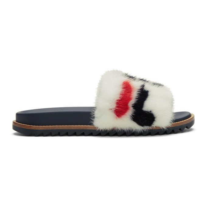 Photo: Fendi White Fendi Mania Fur Slides