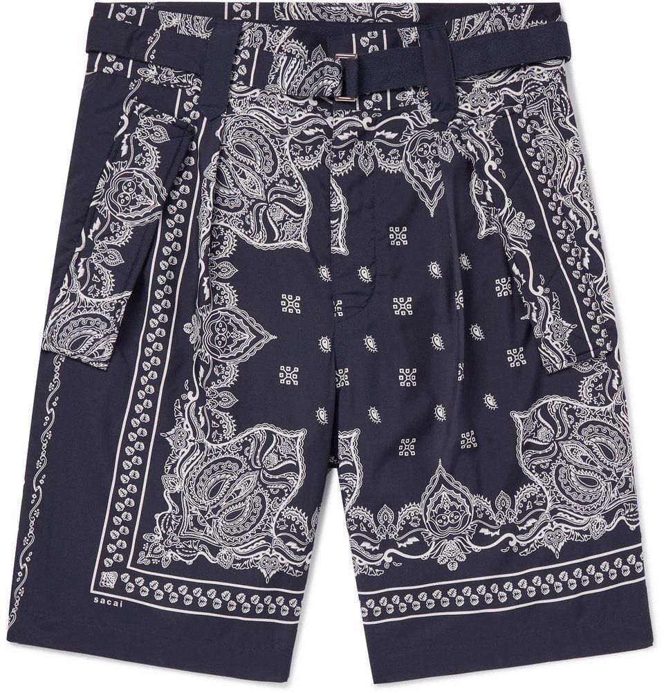 Sacai - Printed Woven Shorts - Men - Navy