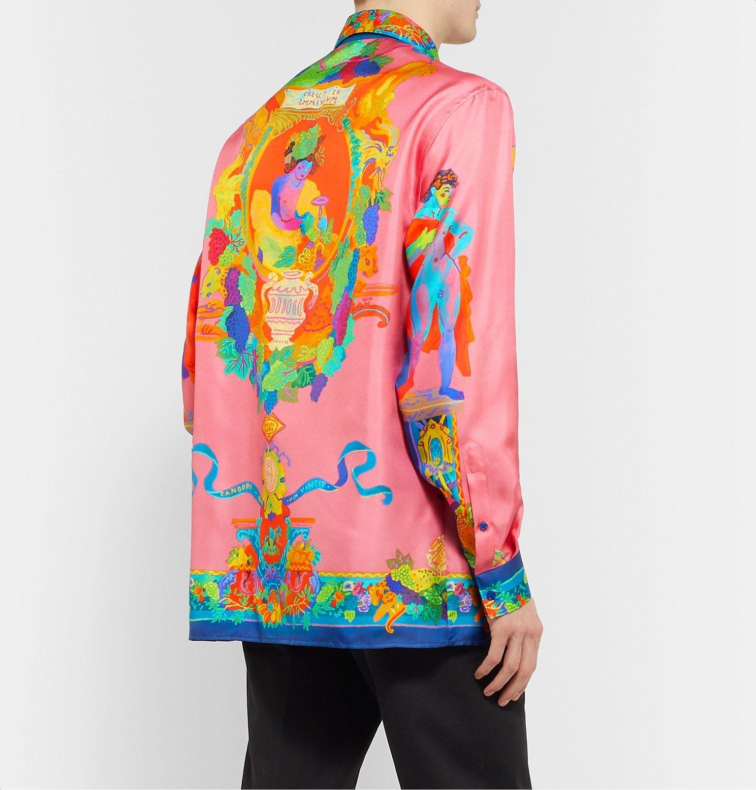 Versace - Printed Silk-Twill Shirt - Pink