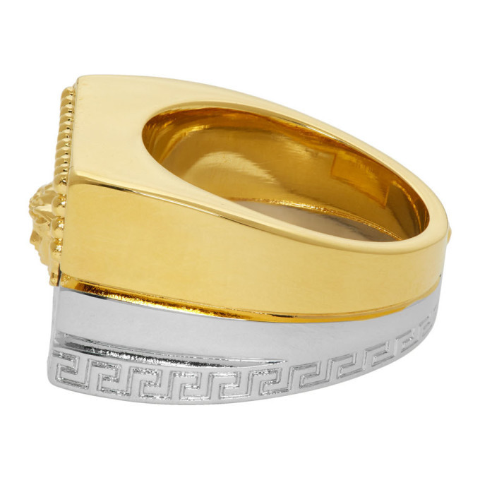 Versace Gold and Silver Meander Ring