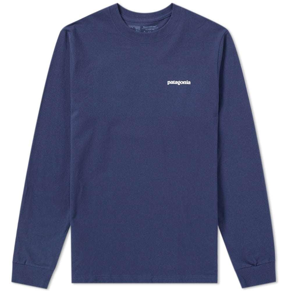 Photo: Patagonia Long Sleeve P-6 Logo Responsibili-Tee Blue