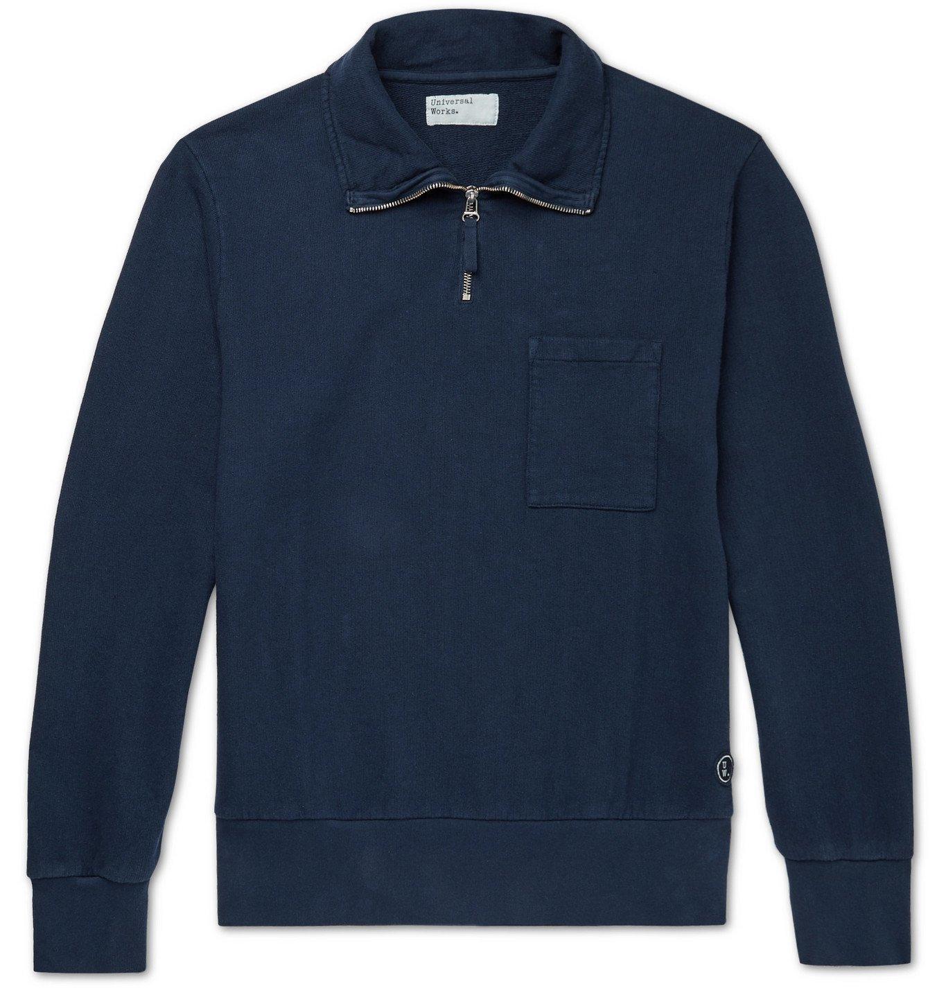 Photo: Universal Works - Half-Zip Loopback Cotton-Jersey Sweatshirt - Blue
