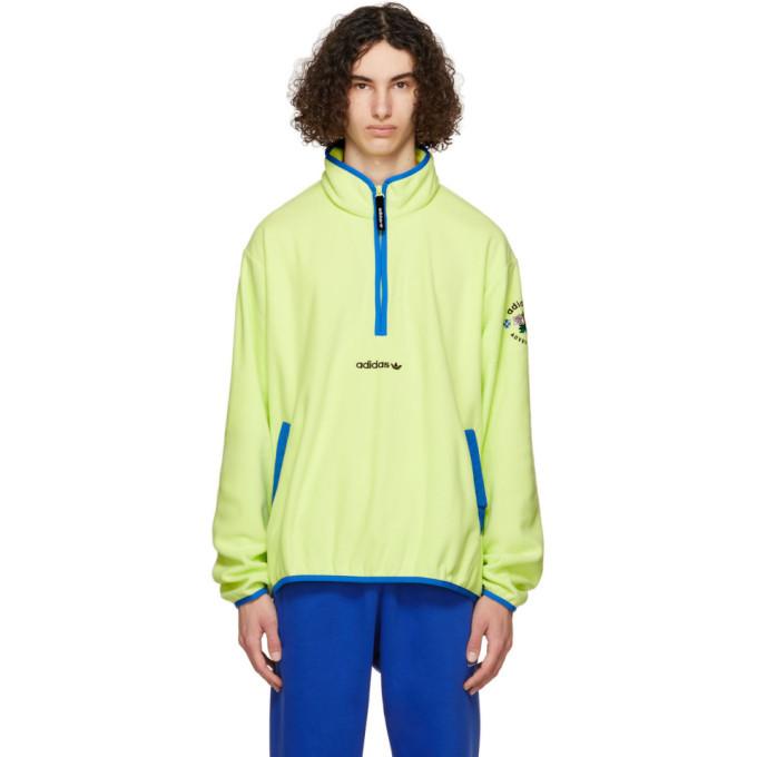 Photo: adidas Originals Yellow Polar Fleece Adventure Half-Zip Sweatshirt