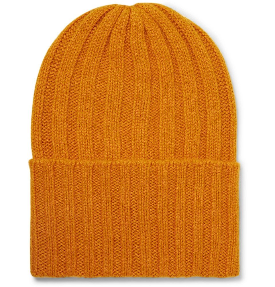 Photo: The Elder Statesman - Short Bunny Echo Ribbed Cashmere Beanie - Orange