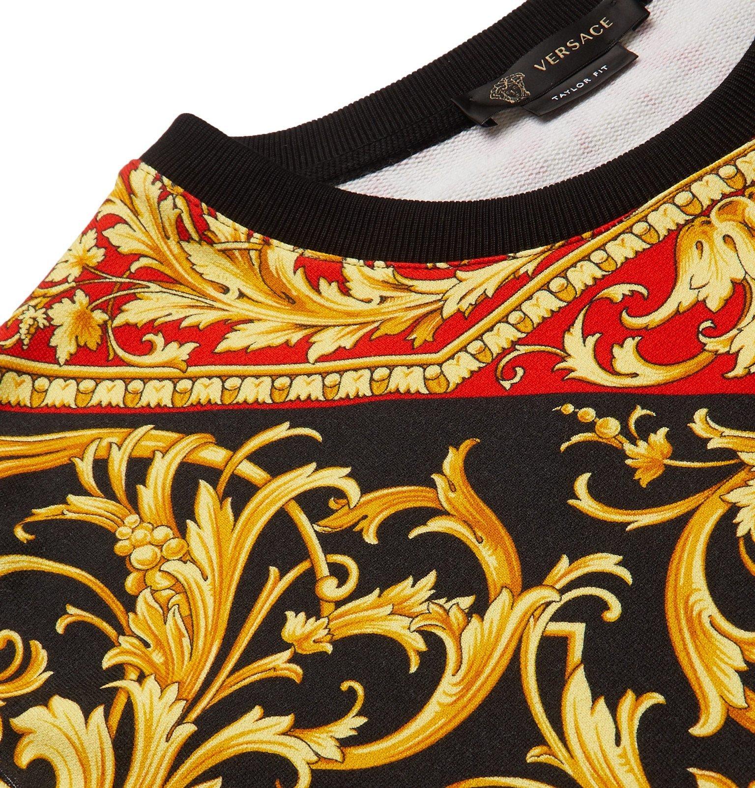 Versace - Printed Loopback Cotton-Jersey Sweatshirt - Black