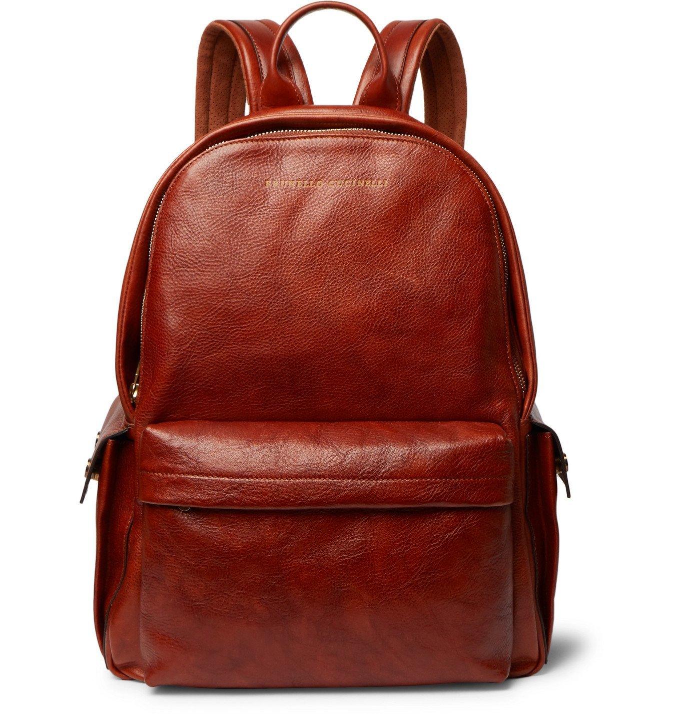 Photo: Brunello Cucinelli - Suede-Trimmed Burnished Full-Grain Leather Backpack - Brown