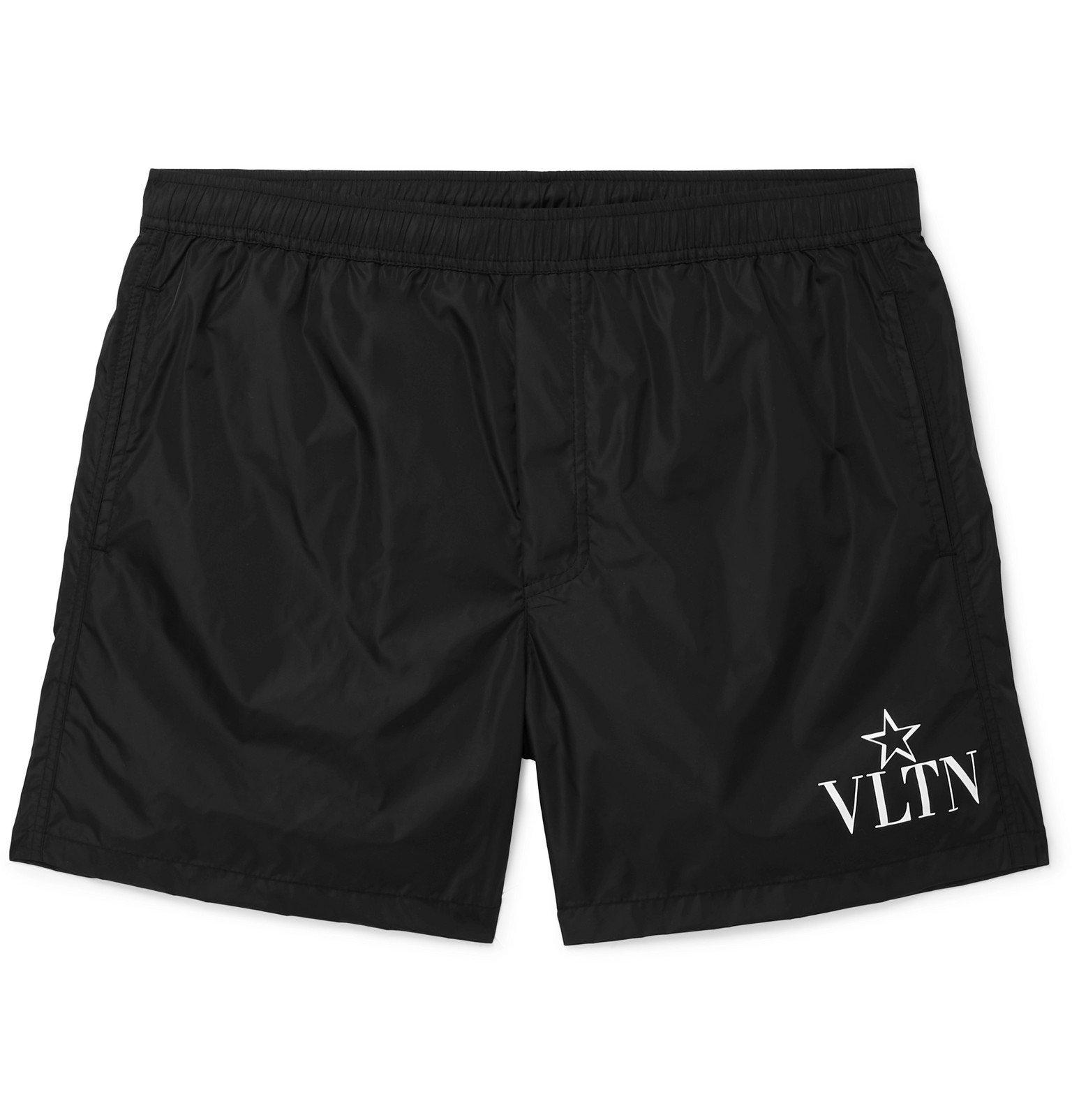 Photo: Valentino - Short-Length Logo-Print Swim Shorts - Black